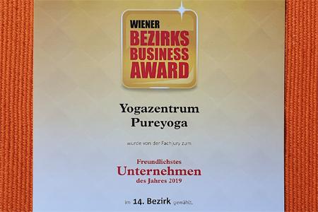 Business Award für das freundlichste Yogaunternehmen in 1140 Wien
